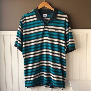Lacoste Blue Grey Striped Polo Shirt Sz 7